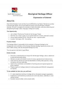 Employment Opportunity - Aboriginal Heritage Officer